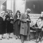 Group of Chicago women collecting petitions for prohibition reform, 1930