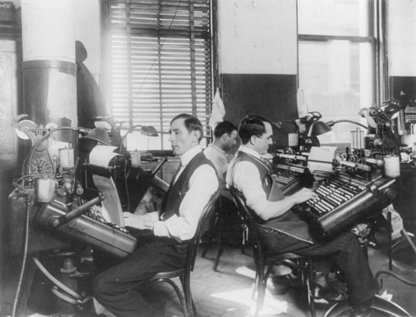 Linotype compositors at work at N.Y. World, 1909
