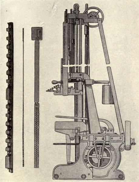 Ottmar Mergenthaler's first direct casting band machine of 1883