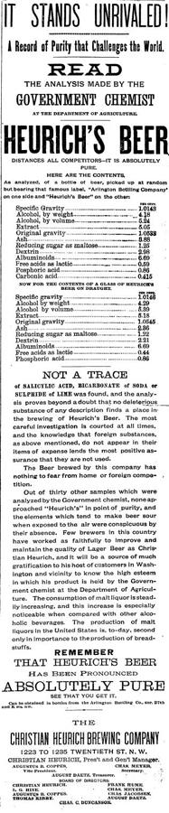 Heurich's Beer Ad, 1892