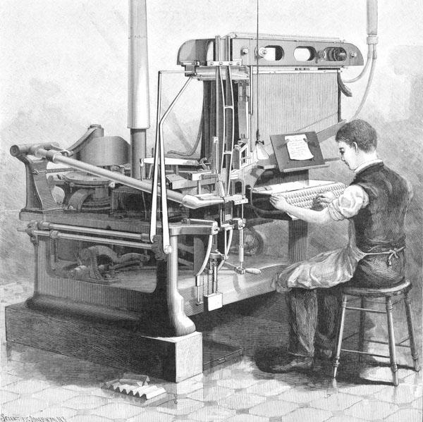 New York Tribune Linotype machine in use
