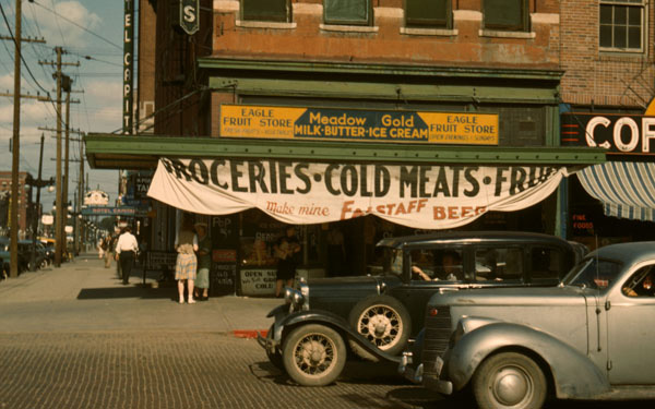Falstaff Beer banner on the awning of the Eagle Fruit Store in Lincoln, NE, 1942