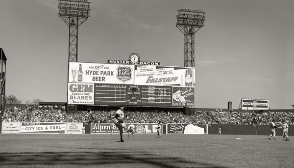 Falstaff beer advertisement on the scoreboard at Sportsman's Park, St. Louis, during a 1946 World Series