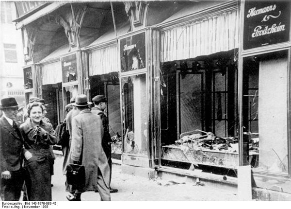 Destroyed store windows of Herrmanns & Froitzheim in Magdeburg on the day after Reichskristallnacht, November 9, 1938