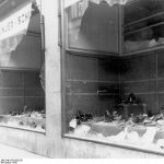 Destroyed store windows of a Jewish-owned shoe store in Magdeburg on the day after Reichskristallnacht, November 9, 1938