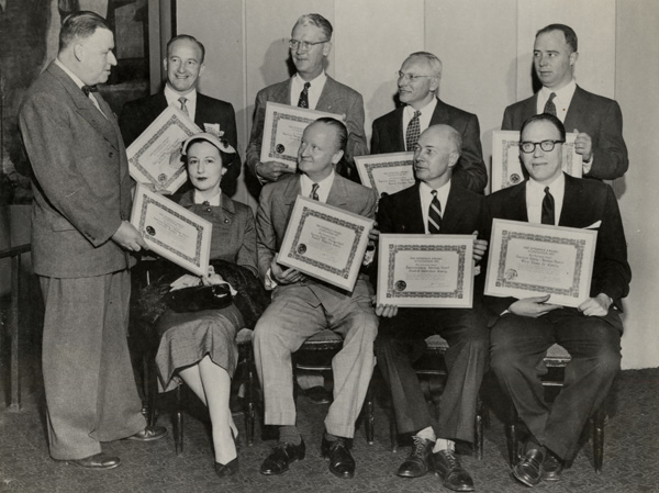Charlotte Cramer Sachs receiving Free Enterprise, American Family Heritage Award, ca. 1952