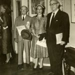 Hans S. Cramer, Charlotte Cramer Sachs, and Alexander Sachs at opening of exhibition of Charlotte's art works, New York City, 1956