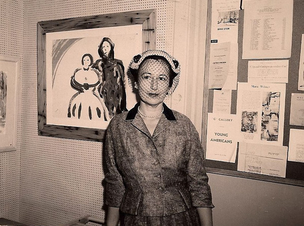 Charlotte Cramer Sachs, at opening of exhibition of her works, Shuster Gallery, New York City, September 1956