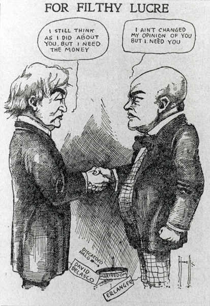 An anti-Syndicate cartoon published in a Shubert-controlled theatrical newspaper, 1909