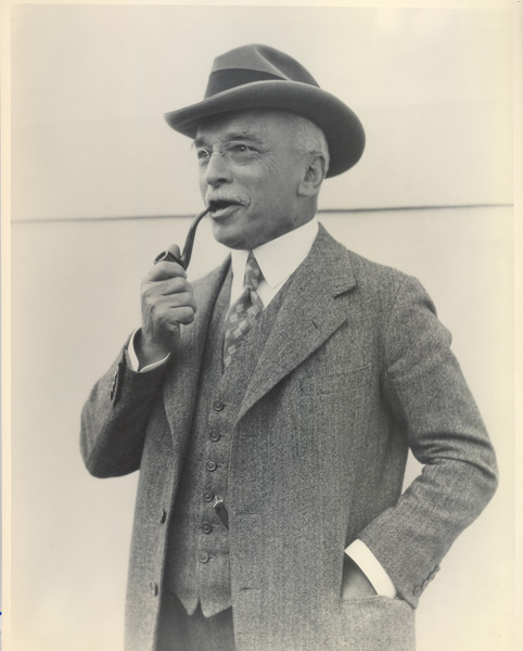 Edward A. Filene with pipe aboard the RMS Mauretania, October 1926