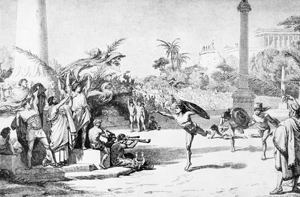 Greek footrace after a painting by 19th-century German artist Otto Knille