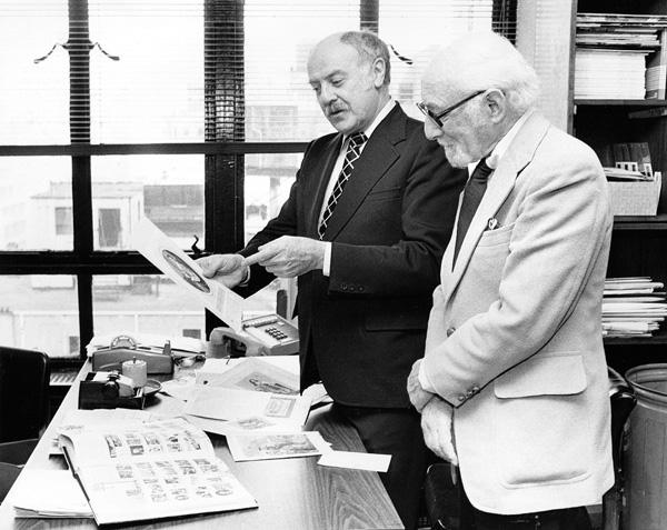 Otto Bettmann and editor Manley Stolzman, ca. 1970s