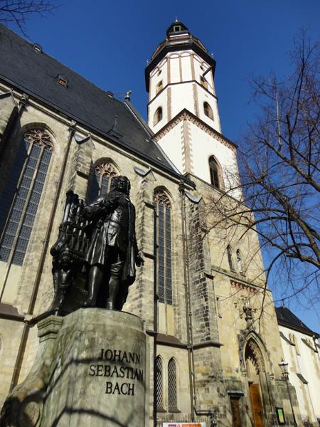 Church of St. Thomas and a statue of Johann Sebastian Bach, Leipzig