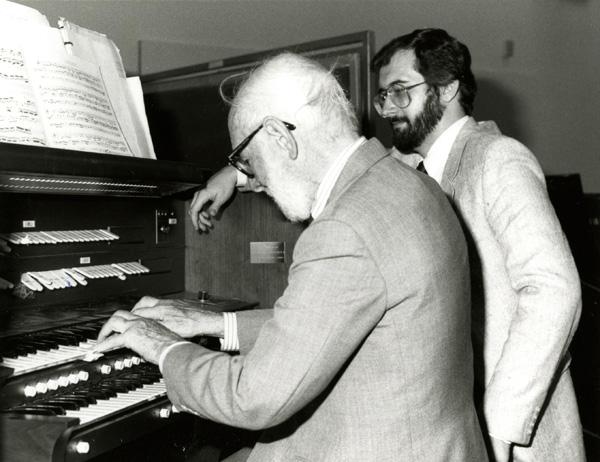 Otto Bettmann playing the organ