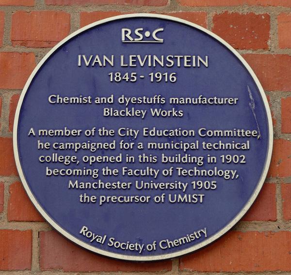 Commemorative plaque for Ivan Levinstein in Manchester, England
