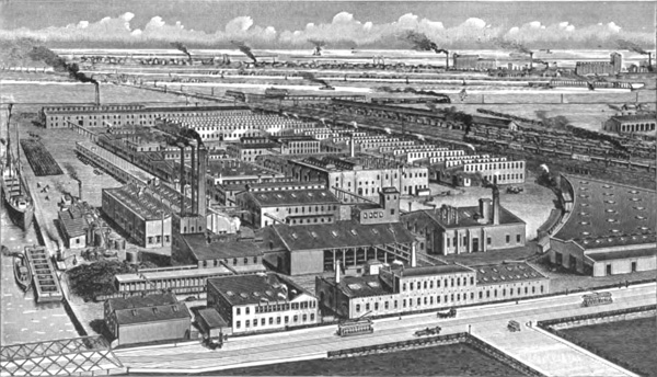 Schoellkopf, Hartford & Hanna Co. works in Buffalo, New York, formerly the Schoellkopf Aniline and Chemical Works, ca. 1908.