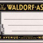 Waldorf-Astoria Luggage Tag, ca. 1920-40