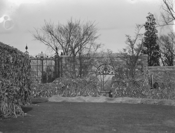 North gateway to the forecourt of the gardens at Kykuit, John D. Rockefeller's estate, designed by William Welles, ca. 1916-1918