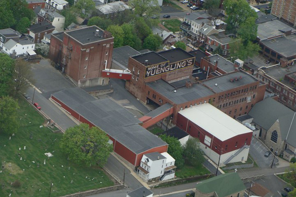 Aerial photograph showing the D.G. Yuengling & Son brewery complex in Pottsville, Pennsylvania, 2011