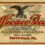 Beer bottle label for Wiener Beer brand produced by D.G. Yuengling & Son