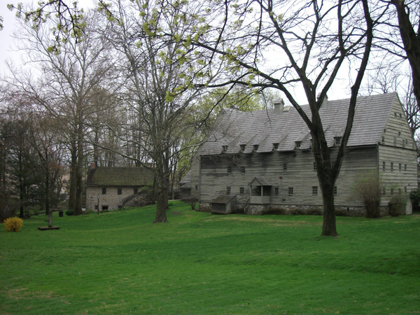 Contemporary photograph of the Saal (meetinghouse) at the Seventh-Day Baptist Brethren's Ephrata Cloister near Ephrata, Pennsylvania