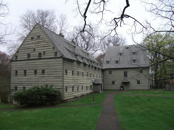 Contemporary photograph of the Saal (meetinghouse) and Saron (communal residence for the monastic sisters) at the Seventh-Day Baptist Brethren's Ephrata Cloister near Ephrata, Pennsylvania.