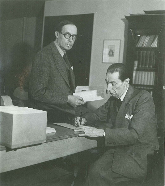 Kurt Wolff and Jacques Schiffrin at the Pantheon office