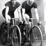 The Duesenberg brothers on bicycles