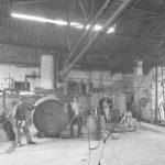 Workroom for applying pitch to waterproof beer barrels, Lowenbräu brewery, Munich