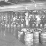 Mechanical barrel-filling room, Löwenbräu brewery, Munich