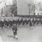 """Sousa marching with his U.S. Navy """"Jackie"""" Band in New York City, 1917"""
