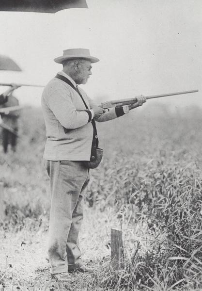 John Philip Sousa at a shooting range, ca. 1914