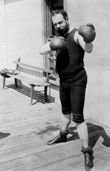John Philip Sousa in a boxing pose, ca. 1899