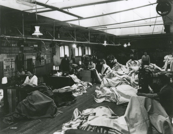 Workers in a large sewing room, Willamette Tent & Awning Company, ca. 1917