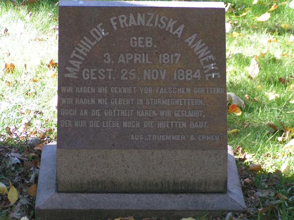 Gravestone of Mathilde Franziska Anneke, Forest Home Cemetery, Milwaukee, Wisconsin