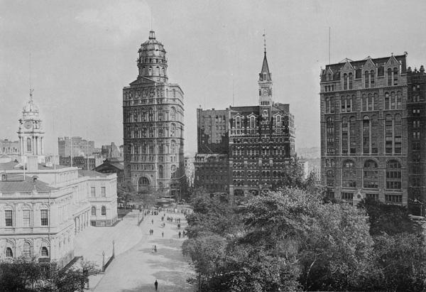 New York City Hall and 'Newspaper Row,' January 1889