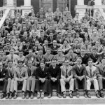 Peddie School class of 1927, students and faculty, on the steps of Wilson Hall