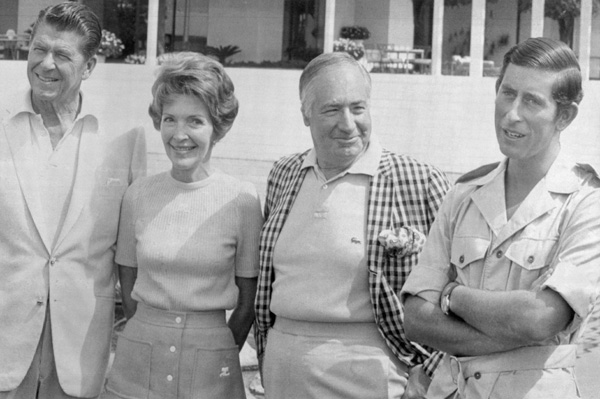Governor Ronald Reagan and wife Nancy, Ambassador Walter Annenberg and Prince Charles of England, guests at Walter Annenberg's estate in Palm Springs, CA, March 17, 1974