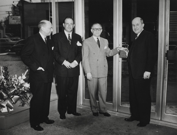Irving May, William B. Thalhimer Jr., and Morris Sosnik attending store opening, 1959