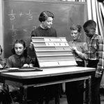 "A teacher explains fractions to students on WFIL-TV's ""Studio Schoolhouse"" program, 1956"
