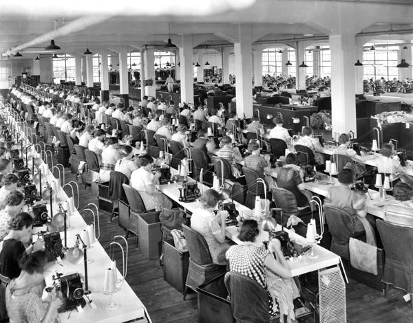 Photograph of the Wayne Knitting Mills Sewing Room, 1930