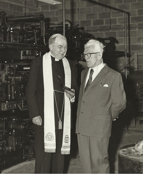 Blessing of a new press for the Omaha Tribüne, ca. 1950s