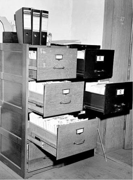 Val Peter's office after being raided, 1942