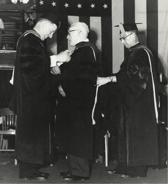 Val Peter receiving his honorary degree from Creighton University, June 1953