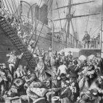 German Emigrants Embark on a Hamburg Steamship Bound for New York, 1874