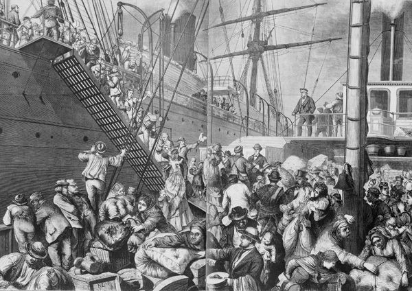 German Emigrants Embark on a Hamburg Steamship Bound for New York, 1874