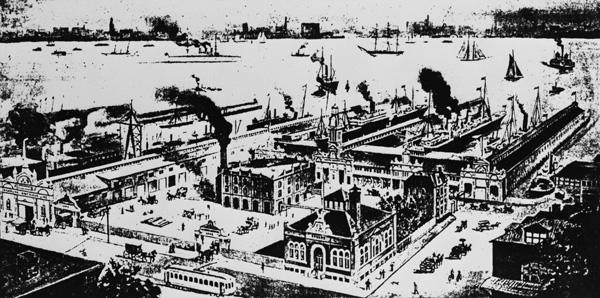 Landing Place for the Hamburg-American Line in Hoboken, NJ, 1899