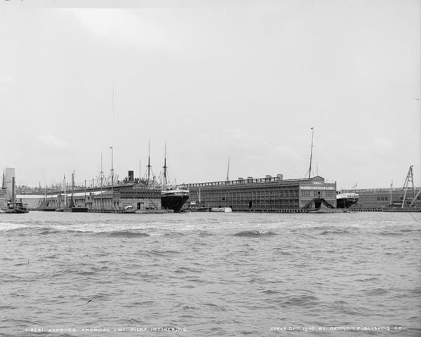Hamburg-American Line Piers in Hoboken, NJ, ca. 1905