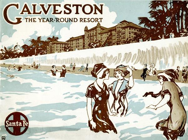 Galveston advertising brochure produced by the Santa Fe Railroad Company, ca. 1910