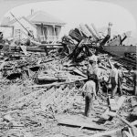 Removing a body from the ruins in Galveston following the 1900 hurricane